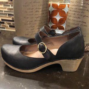 Dansko black leather clog Mary Janes 38